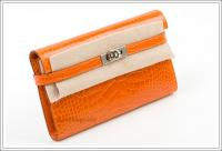 Hermes Kelly Long Wallet in orange, matte alligator